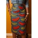 Summer Trendy Ethnic Style Fish Scale Printed Midi Pencil Skirt