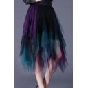 Unique Stylish Colorblock Gathered Waist Midi A-Line Pleated Asymmetrical Mesh Skirt