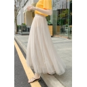 Summer Fashion Solid Color Maxi A-Line Pleated Skirt Layered Gauze Skirt