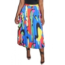 Fashion Bohemian Style Colorblock Blue Maxi Multi-Way Pleated Beach Skirt