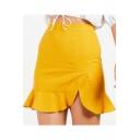 Basic Simple Solid Color High Rise Ruffled Hem Split Side Mini Skirt