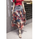 Summer Fashion Fish Pattern Denim Patchwork High Rise Maxi Chiffon Flowy Skirt