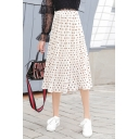Summer Girls Sweet Polka Dot Printed Elastic Waist Midi Pleated Flowy Skirt