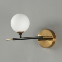 Metal Frosted Glass Wall Light with White/Amber Globe Shape Kitchen Foyer 1 Light Traditional Sconce Light