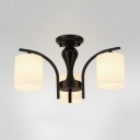 Modern Black/Gold Ceiling Light with Cylinder Shape 3/5 Lights Metal Frosted Glass Semi Flush Chandelier for Foyer