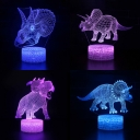 7 Color Dinosaur LED Illusion Light USB Port and Battery 3D Night Light with Touch Sensor for Boy Girl Bedroom