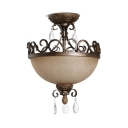 Balcony Living Room Dome Ceiling Light Frosted Glass Metal 3 Lights Antique Style Semi Flush Mount Light
