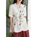Chic Simple Floral Embroidery Short Sleeve V-Neck Casual Linen T-Shirt for Women