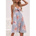 Trendy Floral Stripe Printed Knotted Front Cutout Waist Button Down Blue Midi A-Line Slip Dress