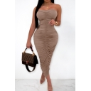 Summer Basic Solid Color Brown Unique Ruched Detail Maxi Bodycon Bandeau Dress Party Dress