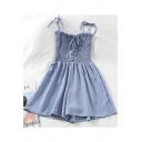 Summer Bow Tied Strap Lace-Up Front Sash Detail Casual Culottes Rompers