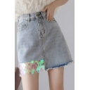 Summer New Chic Glitter Sequin Patched Hem Raw Hem Light Blue Mini A-Line Denim Skirt