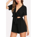 Women's Plain Black V-Neck Bow Tied Front Cutout Waist Short Sleeve Rompers