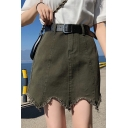 Summer New Trendy Solid Color Fringed Hem Mini A-Line Asymmetrical Skirt Denim Skirt