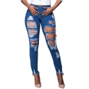 Womens New Stylish Destroyed Ripped Holes Detail Frayed Hem Blue Skinny Jeans