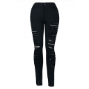 High Waist Solid Color Distressed Ripped Black Stretch Fit Jeans for Women