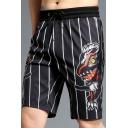 Guys Summer Black Striped Printed Drawstring Waist Cotton Loose Swim Shorts