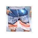 Guys New Stylish Colorblock Quick Dry Drawstring Waist Beach Swim Trunks