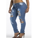 New Stylish Distressed Ripped Womens Blue Skinny Fit Jeans