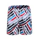 Men's Fashion Sports Striped Swim Shorts With Drawstring