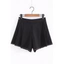 Summer New Stylish Chic Stripe Hem Fashion Wrinkled Wide Leg Shorts