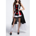 Halloween Queen Cosplay Costume Funny Poker Card Printed High Low Hem Two-Piece Set in Black