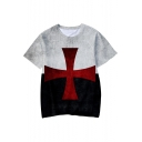 Knights Templar Cross Printed Short Sleeve Round Neck Loose T-Shirt