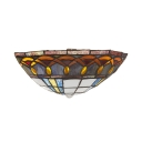Glass Cone Shade Wall Sconce Remote Control Tiffany Style with Multi Color for Bedroom Hotel Bar
