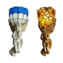 2 Pattern Choice Wall Light with Angel Shape Light Body Stained Glass Resin Tiffany Style Vintage Wall Lamp