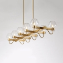 10 Lights Linear Chandelier Vintage Style Metal and Clear/Amber/Smoke Gray Glass Pendant Light in Gold for Dining Room