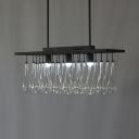 Metal Glass Teardrop Shade Island Pendant Dinging Room Vintage Style Hanging Lamp in Black