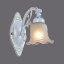 European Style Flower Shade Wall Sconce 1 Light Metal Frosted Glass Sconce Light in White for Hallway