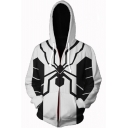 New Stylish Spider Cosplay Costume Long Sleeve Full Zip White Hoodie