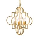 6 Lights Candle Shape Chandelier Elegant Style Metal Hanging Light in Gold for Hotel Bedroom
