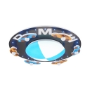 Blue Round Ceiling Mount Light Boy Girl Bedroom Creative Car Pattern Flush Mount Light