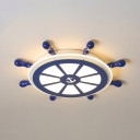 Creative Rudder Shape Ceiling Mount Light Warm Lighting/Stepless Dimming Eye-Caring Flush Ceiling Light for Child Room
