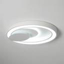 Modern White LED Flush Mount Light Acrylic Metal Slim Panel Round Ceiling Light in White/Warm for Adult Kids Room