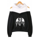 Fashion Cold Shoulder Dragon Dracarys Fake Two-Piece Casual Loose Hoodie
