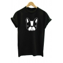 Cartoon Bulldog Printed Basic Round Neck Short Sleeve Unisex Cotton Black Tee