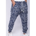 Men's Ethnic Style Printed Drawstring Cotton and Linen Trousers