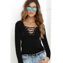 Women's Unique Lace-Up V-Neck Long Sleeve Solid Color Casual Tee