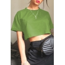 Summer Hot Fashion Basic Solid Color Short Sleeve Crewneck Cropped Casual T-Shirt