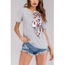 Summer Light Grey Unique Leopard Bow-Tied Round Neck Loose Casual T-Shirt