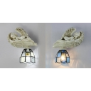 White/Blue Tiffany Style Sconce Light 1 Light Stained Glass and Resin Angel Decoration Wall Light for Bedroom