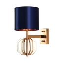 Antique Style Sconce Light with Blue Drum Shape 1 Light Metal Wall Light for Bedroom Living Room