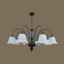 Antique Flower Shade Chandelier Metal Glass 8 Lights Black/White Suspension Light for Dining Room