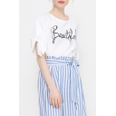 BEAUTIFUL Letter Round Neck Tie Short Sleeve White Tee