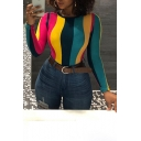 New Stylish Colorful Striped Printed Womens Slim Fit Long Sleeve T-Shirt
