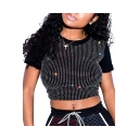 Womens Basic Round Neck Short Sleeve Sexy Hot Drill Sequined Cropped Club T-Shirt