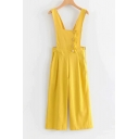 Womens Summer Trendy Yellow Solid Color Button Embellished Culotte Overall Jumpsuit